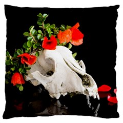Animal Skull With A Wreath Of Wild Flower Large Flano Cushion Case (two Sides) by igorsin