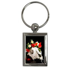 Animal Skull With A Wreath Of Wild Flower Key Chains (rectangle)