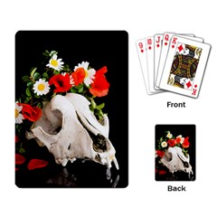 Animal Skull With A Wreath Of Wild Flower Playing Card by igorsin