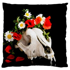 Animal Skull With A Wreath Of Wild Flower Large Cushion Case (one Side) by igorsin