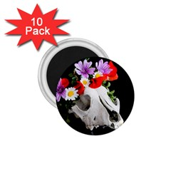 Animal Skull With A Wreath Of Wild Flower 1 75  Magnets (10 Pack)  by igorsin