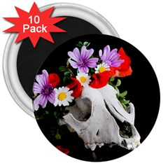 Animal Skull With A Wreath Of Wild Flower 3  Magnets (10 Pack)  by igorsin