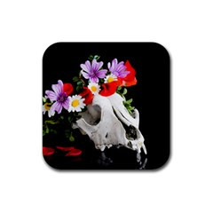 Animal Skull With A Wreath Of Wild Flower Rubber Coaster (square)  by igorsin