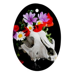 Animal Skull With A Wreath Of Wild Flower Oval Ornament (two Sides) by igorsin