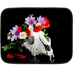 Animal Skull With A Wreath Of Wild Flower Double Sided Fleece Blanket (mini)  by igorsin
