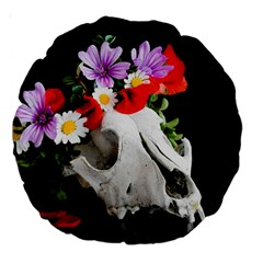 Animal Skull With A Wreath Of Wild Flower Large 18  Premium Round Cushions by igorsin