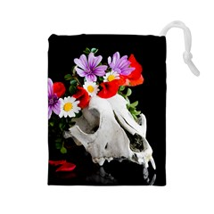 Animal Skull With A Wreath Of Wild Flower Drawstring Pouches (large)  by igorsin
