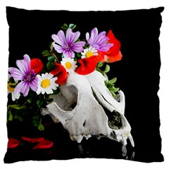Animal Skull With A Wreath Of Wild Flower Large Flano Cushion Case (one Side) by igorsin