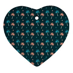 Summer Palms Pattern Heart Ornament (two Sides) by TastefulDesigns