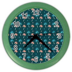 Summer Palms Pattern Color Wall Clocks