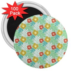 Vintage Floral Summer Pattern 3  Magnets (100 Pack) by TastefulDesigns