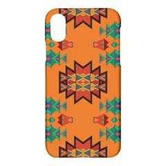 Misc Shapes On An Orange Background                                Apple Iphone X Hardshell Case by LalyLauraFLM
