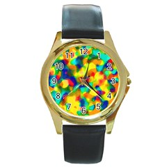 Colorful Watercolors Texture                                    Round Gold Metal Watch