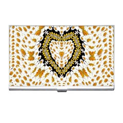 Hearts In A Field Of Fantasy Flowers In Bloom Business Card Holders by pepitasart