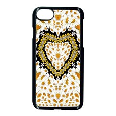 Hearts In A Field Of Fantasy Flowers In Bloom Apple Iphone 7 Seamless Case (black) by pepitasart