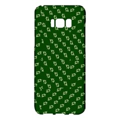 Canal Flowers Cream Pattern Cream Background Sqaured Canal Flowers Cream On Green Small Squared Canal Plaques Galore Canalsbywhackylogo1 Samsung Galaxy S8 Plus Hardshell Case  by bywhacky