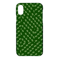 Canal Flowers Cream Pattern Cream Background Sqaured Canal Flowers Cream On Green Small Squared Canal Plaques Galore Canalsbywhackylogo1 Apple Iphone X Hardshell Case