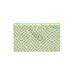 Canal Flowers Cream On Green Small Squared Canal Flowers Cream Pattern Cream Background Sqaured Cosmetic Bag (xs)