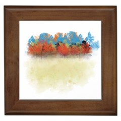 Colorful Tree Landscape In Orange And Blue Framed Tiles by digitaldivadesigns