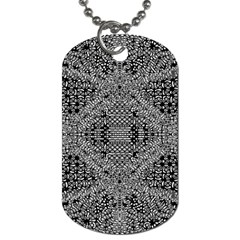 Black And White Psychedelic Pattern Dog Tag (two Sides) by goodart