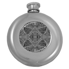 Black And White Psychedelic Pattern Round Hip Flask (5 Oz) by goodart