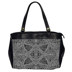 Black And White Psychedelic Pattern Office Handbags (2 Sides)  by goodart