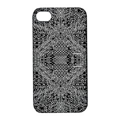Black And White Psychedelic Pattern Apple Iphone 4/4s Hardshell Case With Stand by goodart