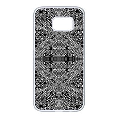 Black And White Psychedelic Pattern Samsung Galaxy S7 Edge White Seamless Case by goodart