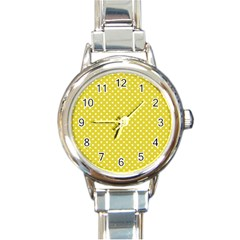 Polka Dots Yellow Round Italian Charm Watch by goodart