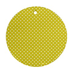 Polka Dots Yellow Round Ornament (two Sides) by goodart