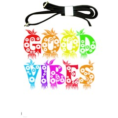 Good Vibes Rainbow Floral Typography Shoulder Sling Bags by yoursparklingshop
