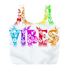 Good Vibes Rainbow Floral Typography Full Print Recycle Bags (l)  by yoursparklingshop