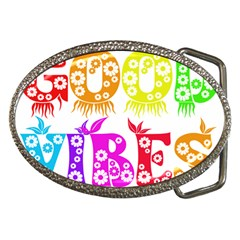 Good Vibes Rainbow Colors Funny Floral Typography Belt Buckles by yoursparklingshop