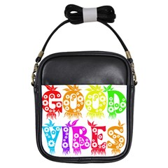 Good Vibes Rainbow Colors Funny Floral Typography Girls Sling Bags by yoursparklingshop