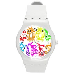Good Vibes Rainbow Colors Funny Floral Typography Round Plastic Sport Watch (m) by yoursparklingshop