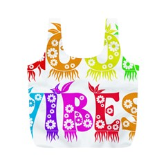 Good Vibes Rainbow Colors Funny Floral Typography Full Print Recycle Bags (m)  by yoursparklingshop