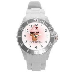 Stay Cool Round Plastic Sport Watch (l) by ZephyyrDesigns
