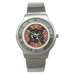 Illustration Based On Aboriginal Style Of Dot Painting Depicting Crocodile Stainless Steel Watch