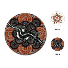 Illustration Based On Aboriginal Style Of Dot Painting Depicting Crocodile Playing Cards (round)  by goodart