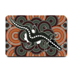 Illustration Based On Aboriginal Style Of Dot Painting Depicting Crocodile Small Doormat  by goodart