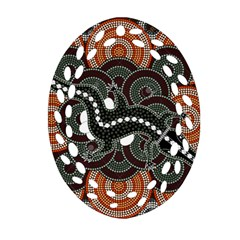 Illustration Based On Aboriginal Style Of Dot Painting Depicting Crocodile Oval Filigree Ornament (two Sides) by goodart