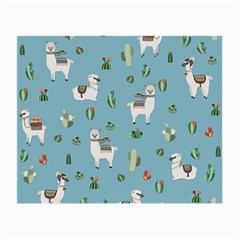 Lama And Cactus Pattern Small Glasses Cloth by Valentinaart
