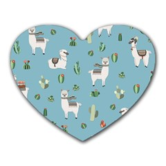 Lama And Cactus Pattern Heart Mousepads by Valentinaart