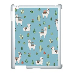 Lama And Cactus Pattern Apple Ipad 3/4 Case (white) by Valentinaart
