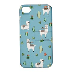 Lama And Cactus Pattern Apple Iphone 4/4s Hardshell Case With Stand by Valentinaart
