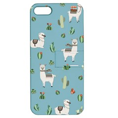 Lama And Cactus Pattern Apple Iphone 5 Hardshell Case With Stand by Valentinaart