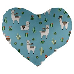 Lama And Cactus Pattern Large 19  Premium Flano Heart Shape Cushions
