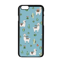 Lama And Cactus Pattern Apple Iphone 6/6s Black Enamel Case by Valentinaart