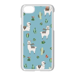 Lama And Cactus Pattern Apple Iphone 7 Seamless Case (white)