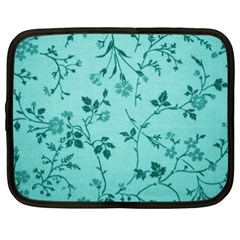 Tissu Fleuri Bleu Sarcelle Teal Netbook Case (xxl)  by goodart